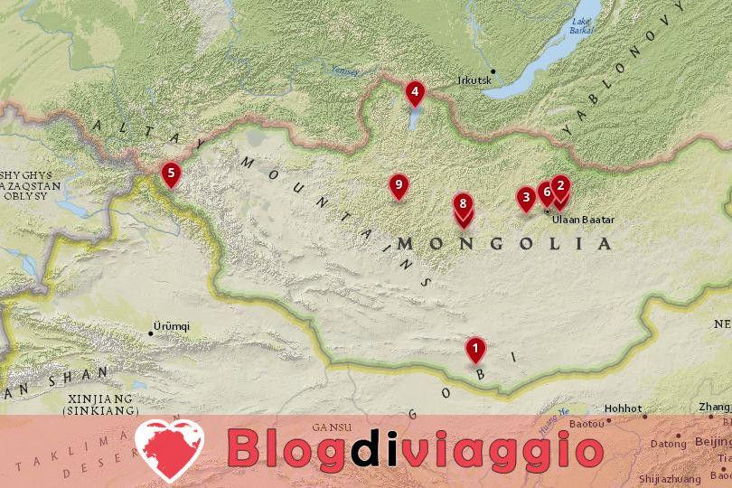 10 Luoghi da visitare in Mongolia