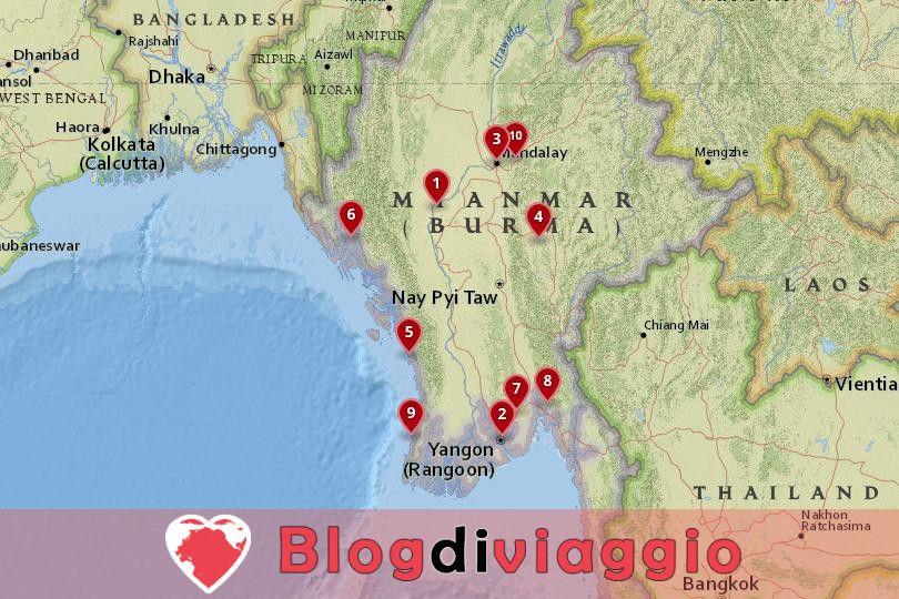10 Luoghi da visitare in Myanmar