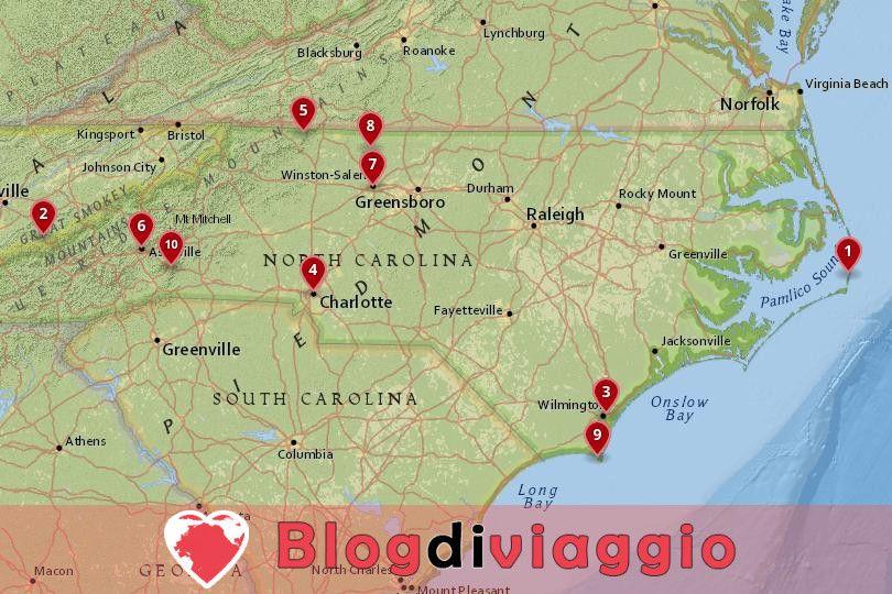 10 Luoghi da visitare in North Carolina