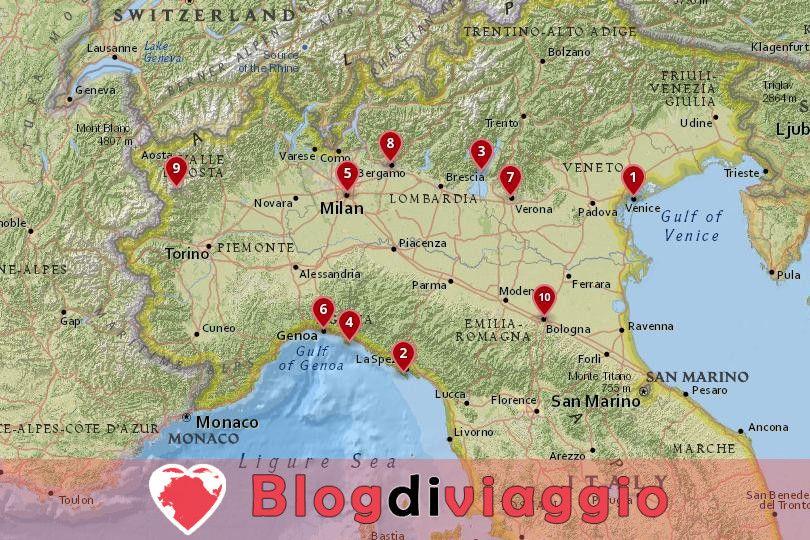 10 Destinazioni top in Nord Italia