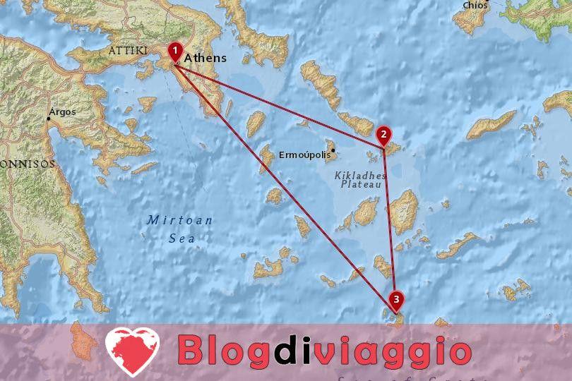 Tour privato di 10 giorni di Atene, Mykonos e Santorini